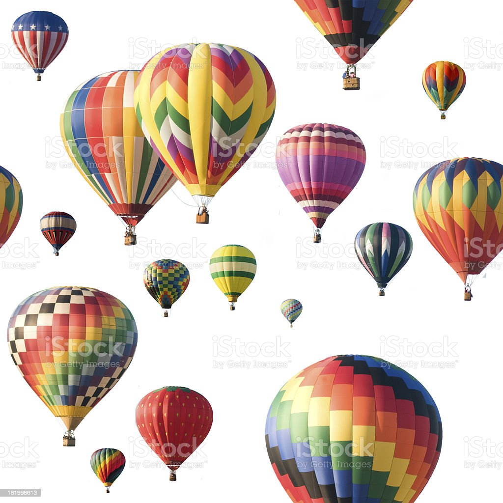 Colorful hot-air balloons floating against white stock photo
