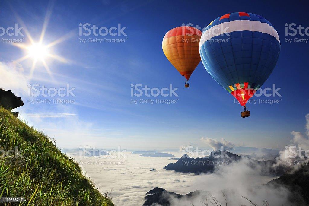 Colorful hot-air balloons stock photo