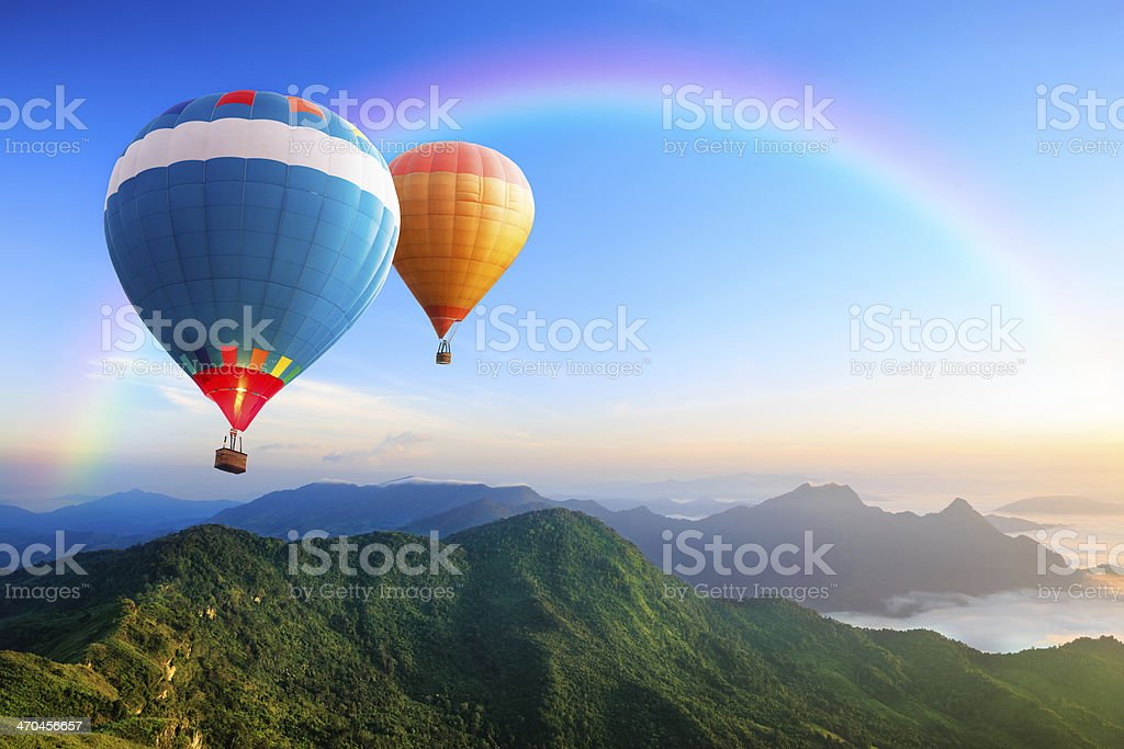 Colorful hot-air balloons stock photo