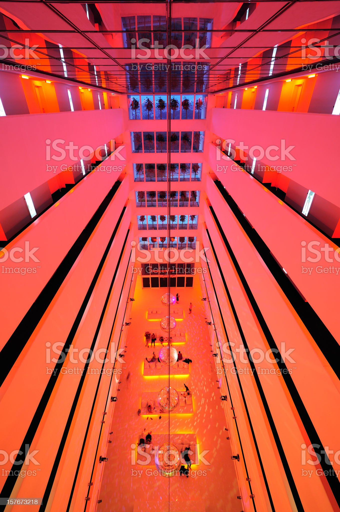 Colorful hotel lobby in marble and stone royalty-free stock photo