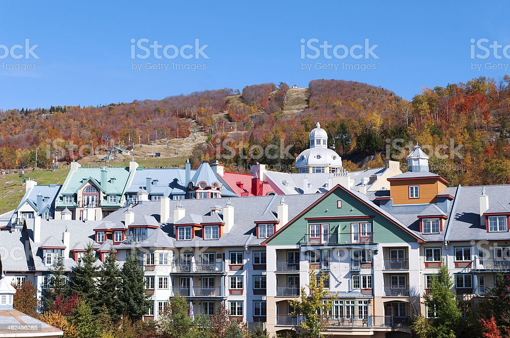 Colorful Hotels in Mont Tremblant, Quebec royalty-free stock photo