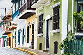Colorful house facades of Old San Juan, Puerto Rico.