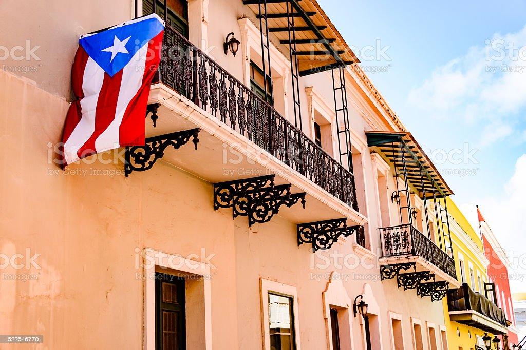 Colorful house facades of Old San Juan, Puerto Rico stock photo