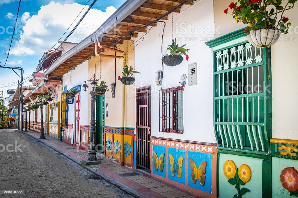 Colorful House - Guatape, Colombia stock photo