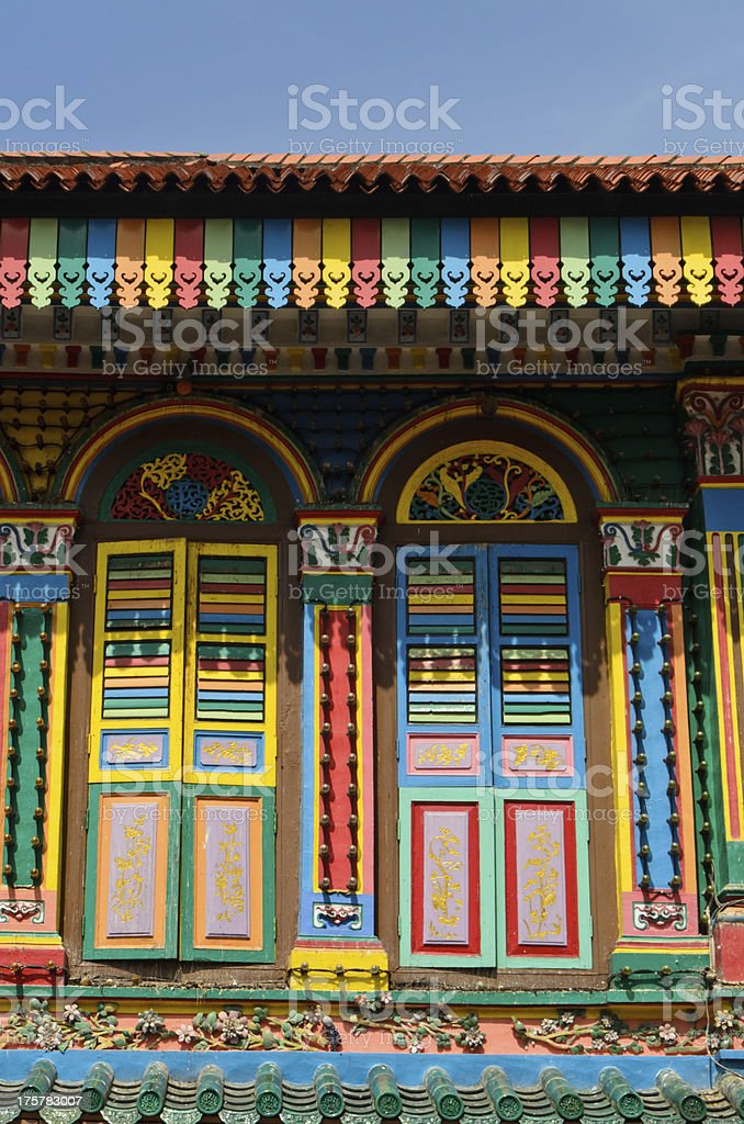 colorful house in Little India, Singapore stock photo