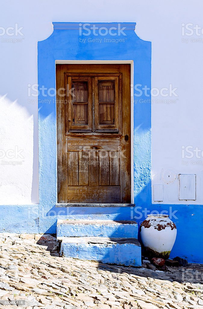 Colorful house in Mertola, Portugal. Colors of Portugal Series stock photo