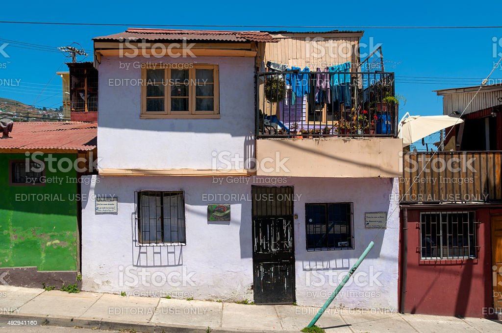 Colorful house in Valparaiso stock photo