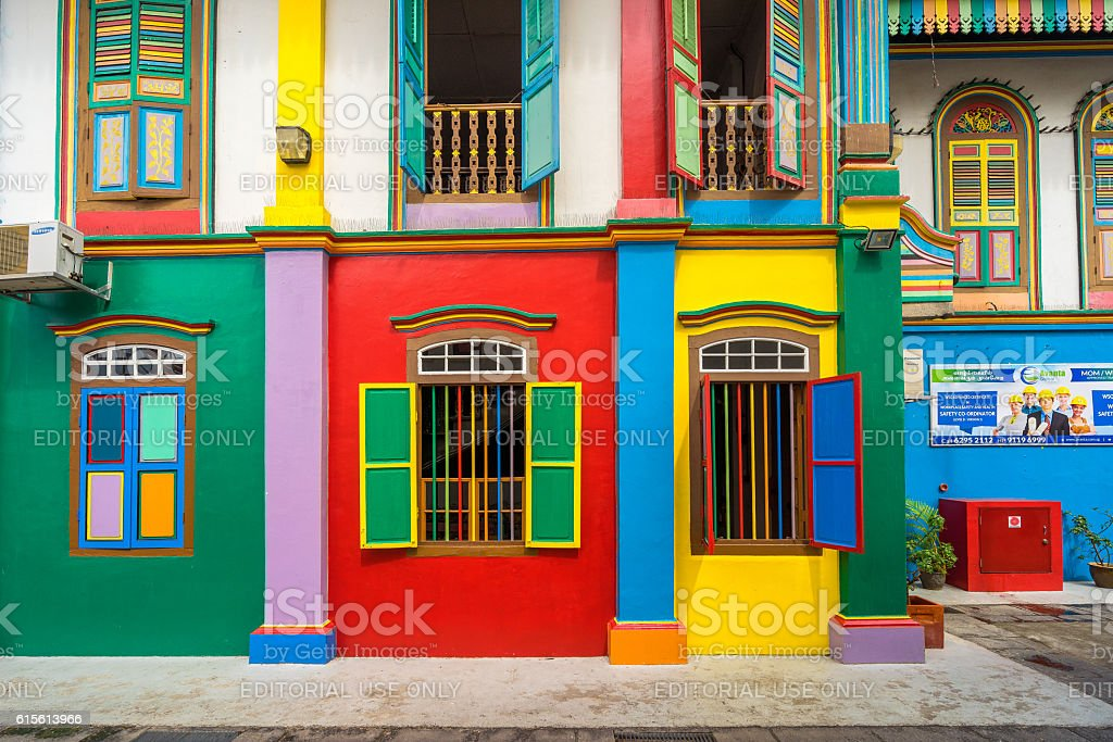 Colorful House colorful house of tan teng niah in little india singapore stock
