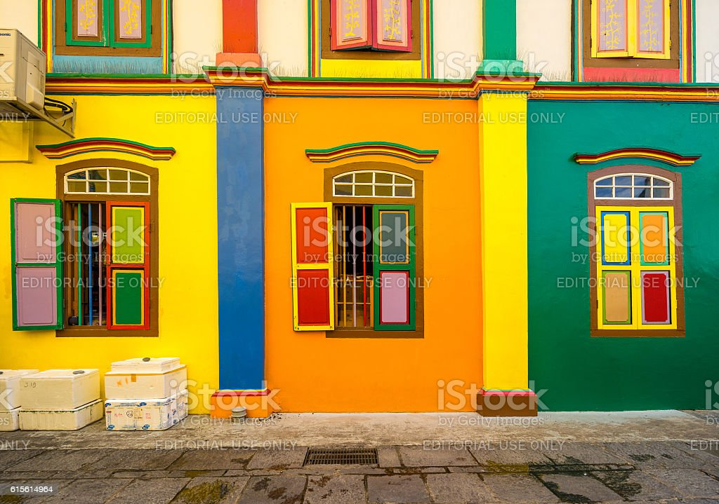 Colorful House of Tan Teng Niah in Little India, Singapore stock photo