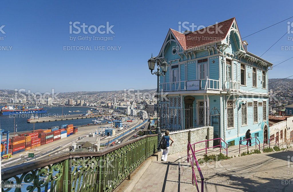 Colorful House, Port and City View, Valparaiso, Chile stock photo