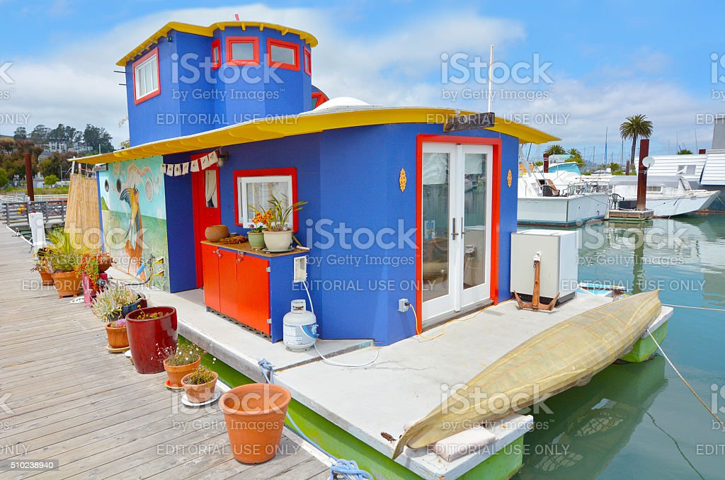 Colorful houseboat in Sausalito California stock photo