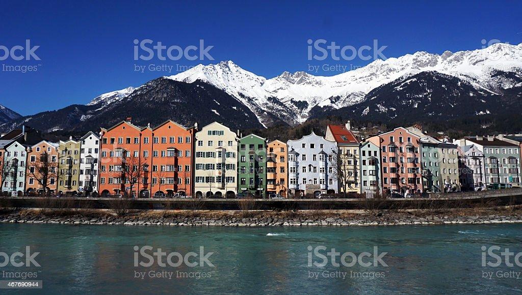 colorful houses along riverside stock photo