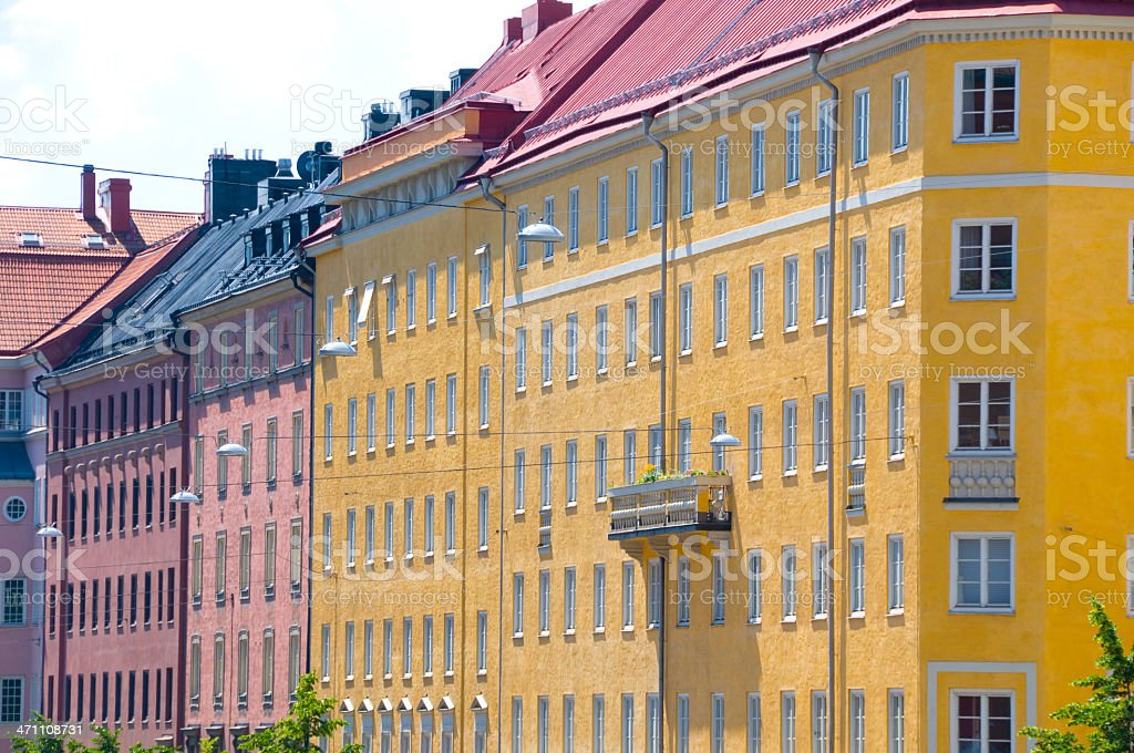 Colorful houses and balcony royalty-free stock photo
