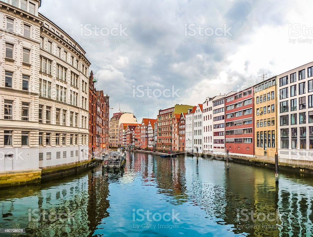 Colorful houses and Nikolaifleet in Altstadt quarter, Hamburg, Germany stock photo