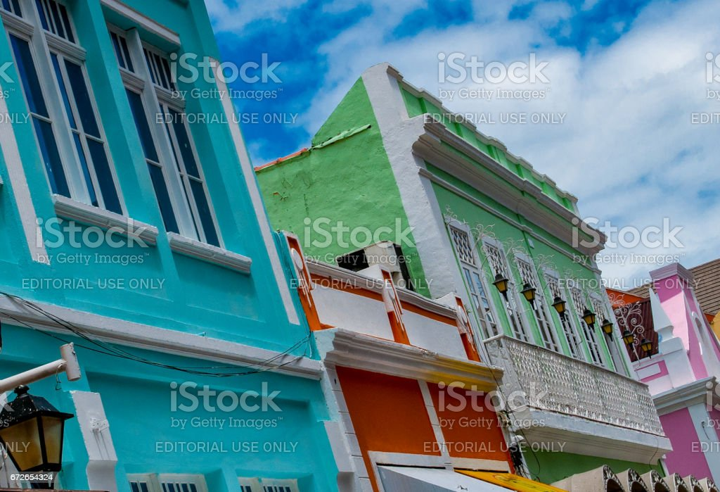 Colorful houses and restored located in the center of the city of Florianópolis stock photo