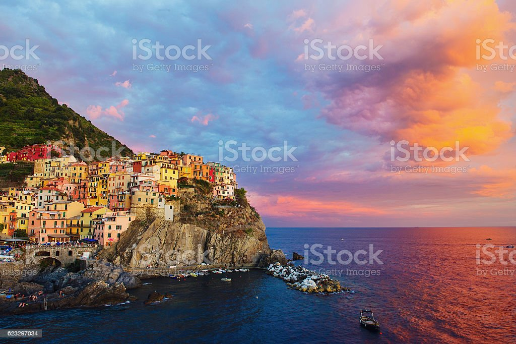 Colorful houses at Italian Riviera stock photo