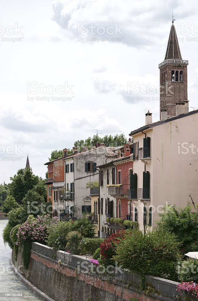Colorful houses at riverbank in Verona, Italy royalty-free stock photo