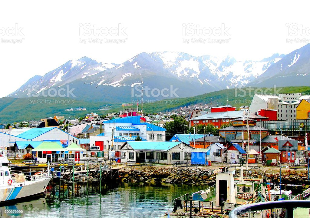 Colorful houses at the end of the world stock photo