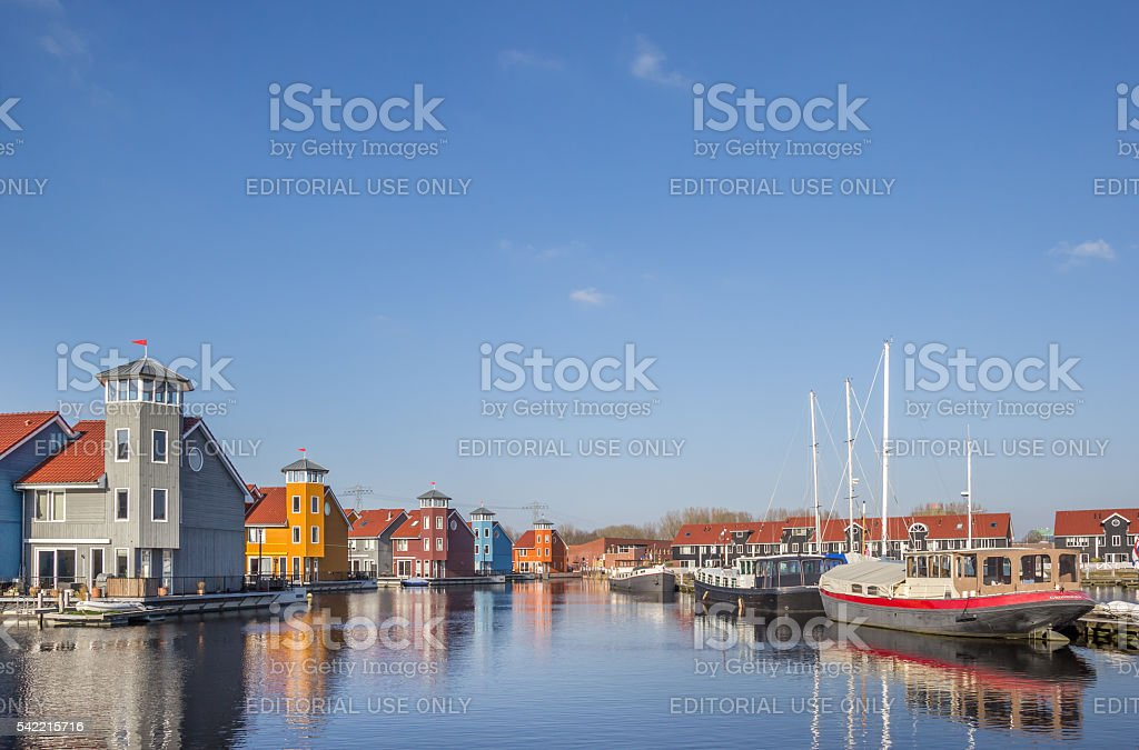 Colorful houses at the Reitdiephaven in Groningen stock photo