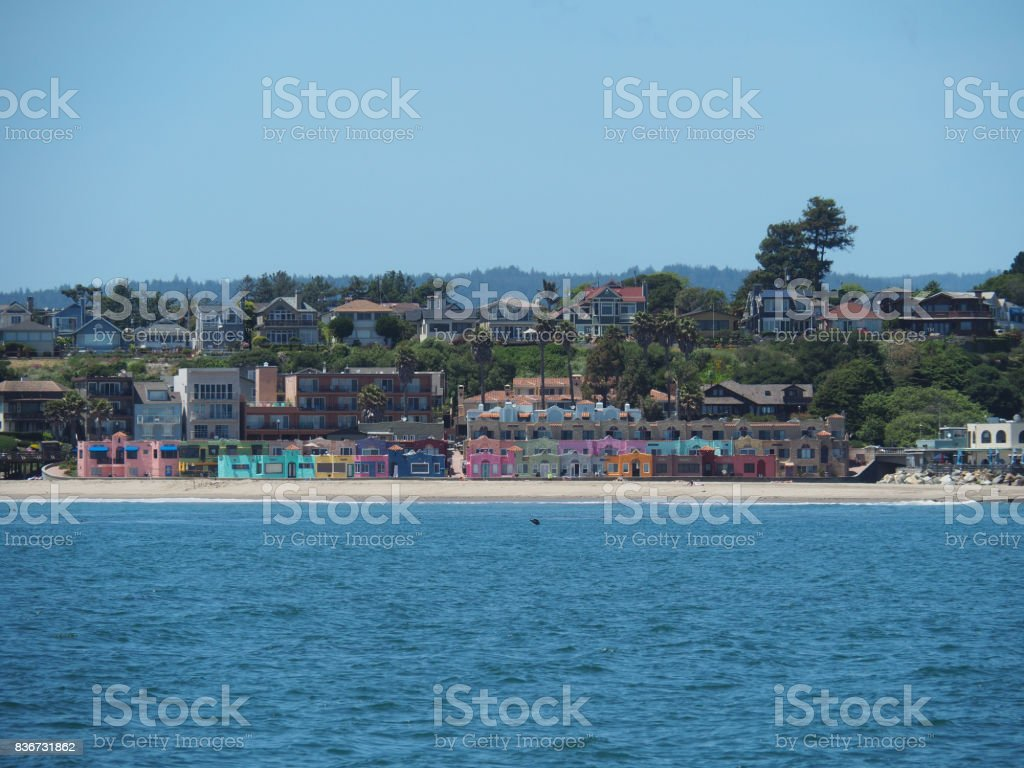 colorful houses at the shoreline near santa cruz royalty free stock photo