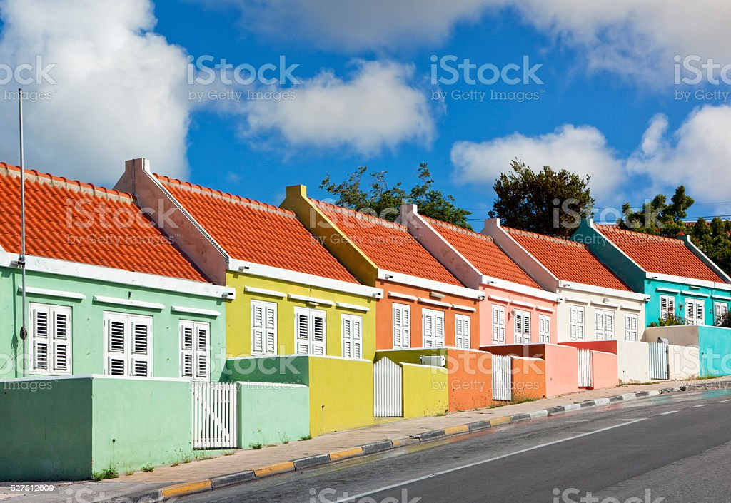 Colorful Houses at Willemstad, Curacao stock photo