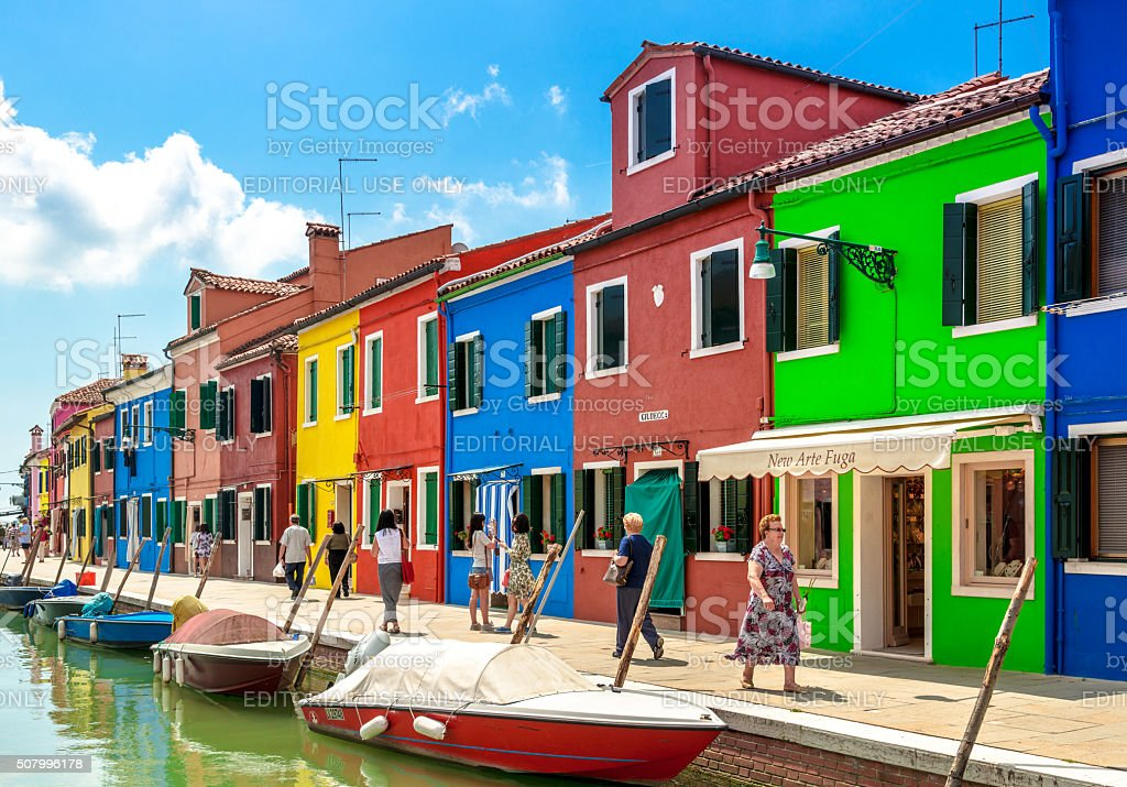 colorful houses, Burano Island, Venice stock photo