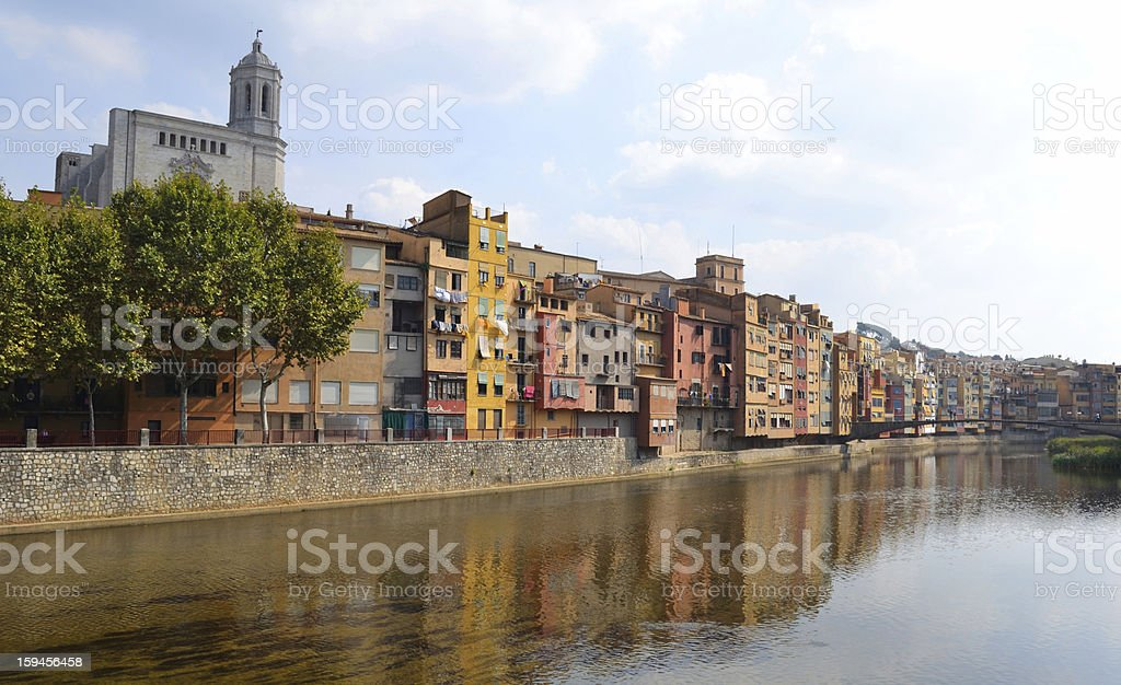 Colorful houses by the river Onyar royalty-free stock photo