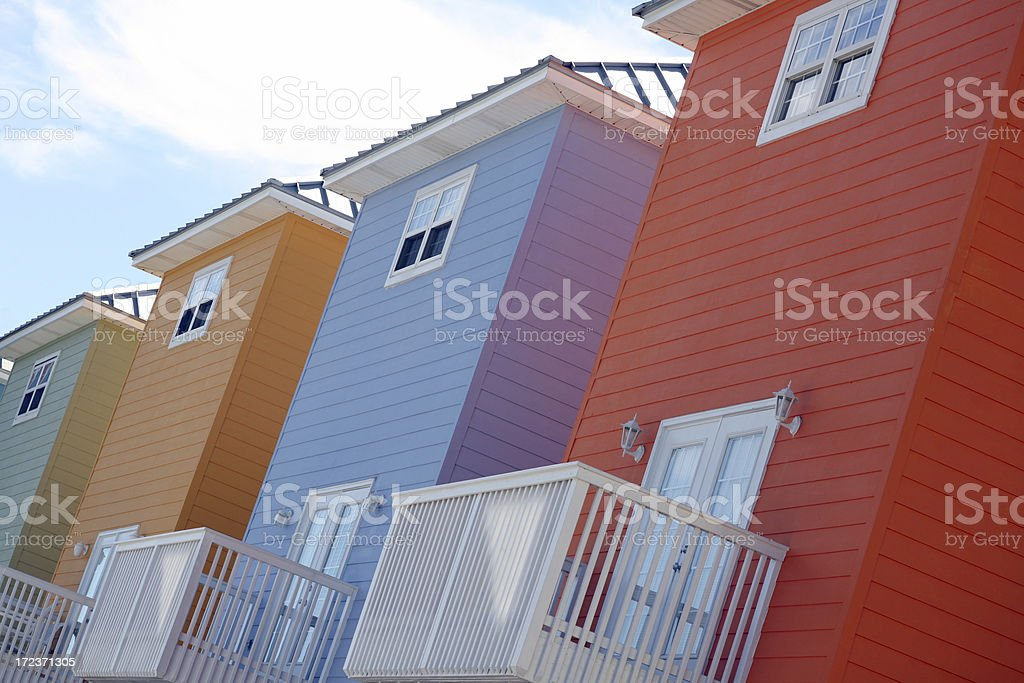 Colorful houses in a row stock photo
