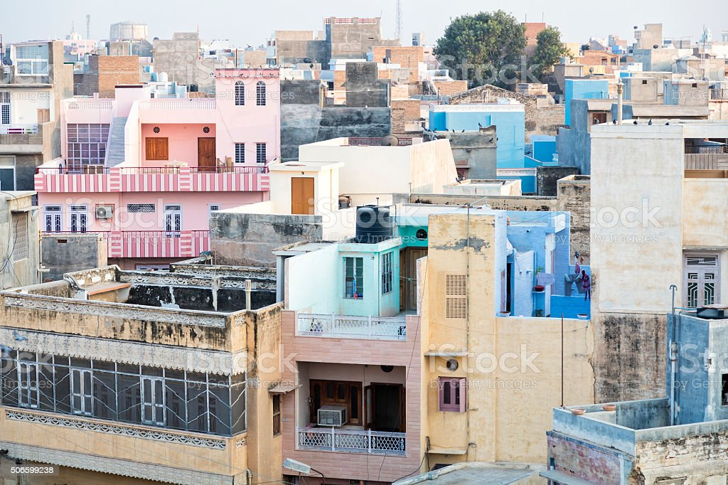 Colorful Houses in Bikaner, Rajasthan, India, Elevated View stock photo