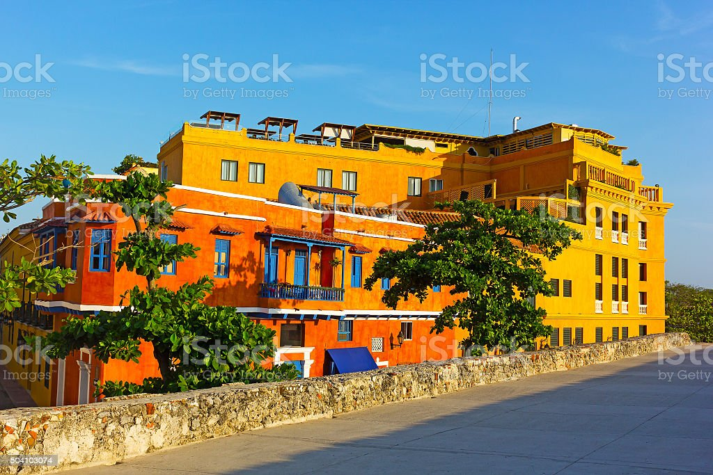 Colorful houses in Cartagena Walled City. stock photo