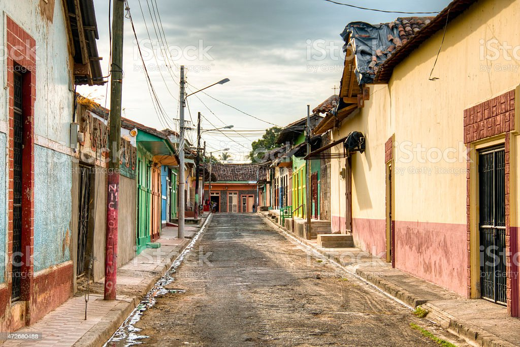 Colorful houses in central Granada, Nicaragua stock photo