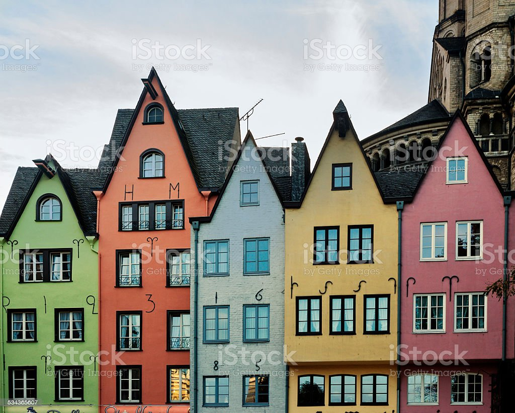 Colorful houses in Cologne stock photo
