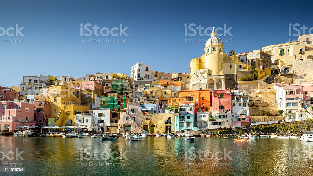 Colorful houses in Corricella village on Procida island stock photo