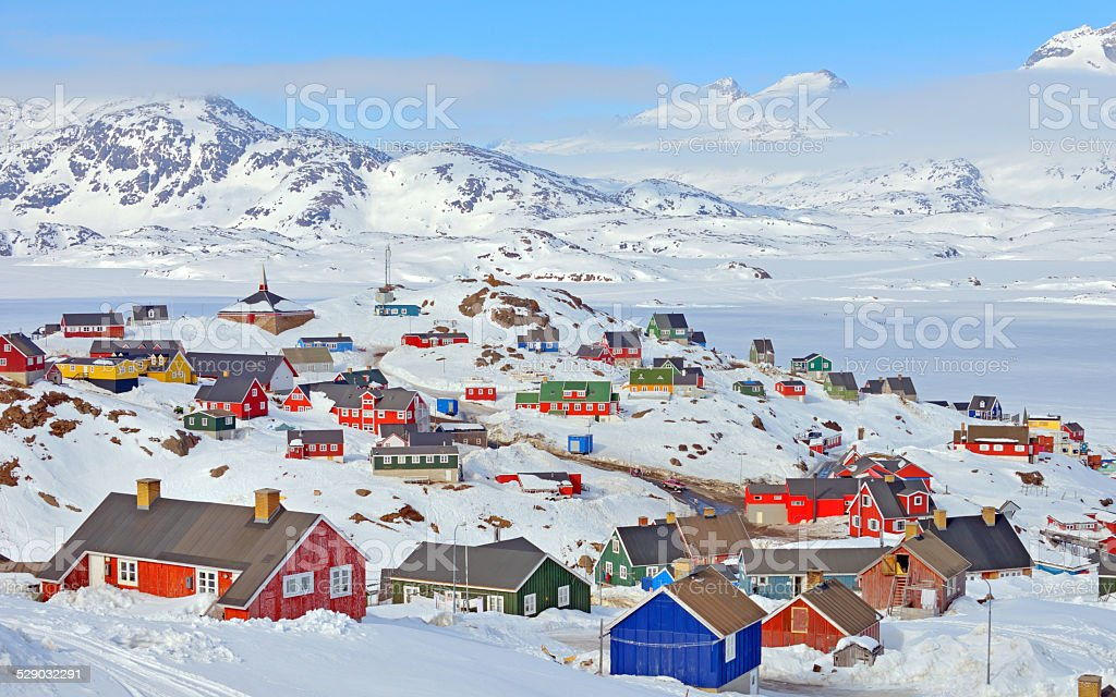 Colorful houses in Greenland stock photo