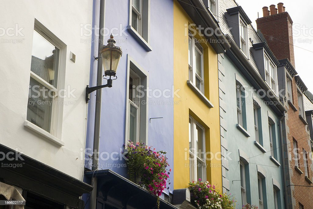 Colorful houses in Guernsey stock photo