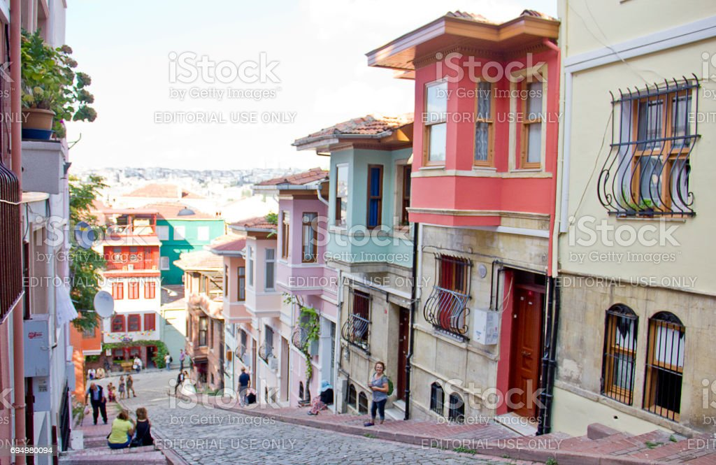 Colorful Houses in Istanbul stock photo