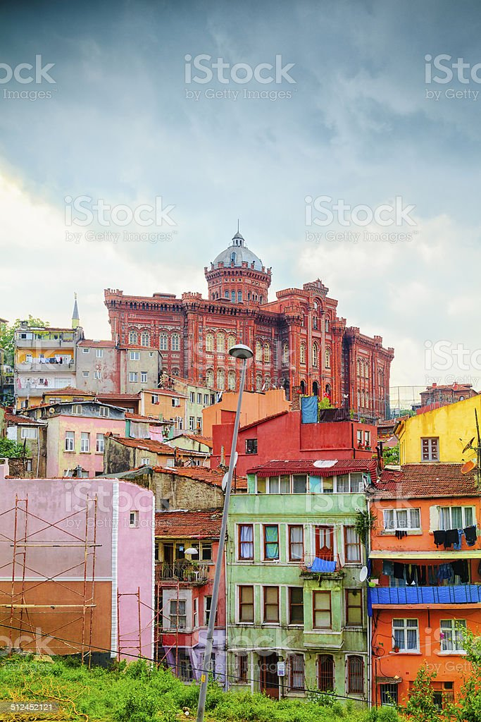 Colorful Houses in Istanbul, Turkey stock photo