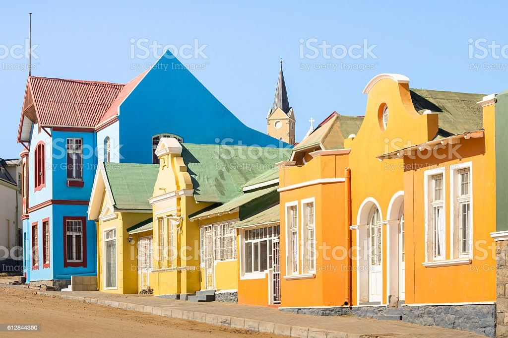 Colorful houses in Luderitz Namibia - Ancient houses german style stock photo
