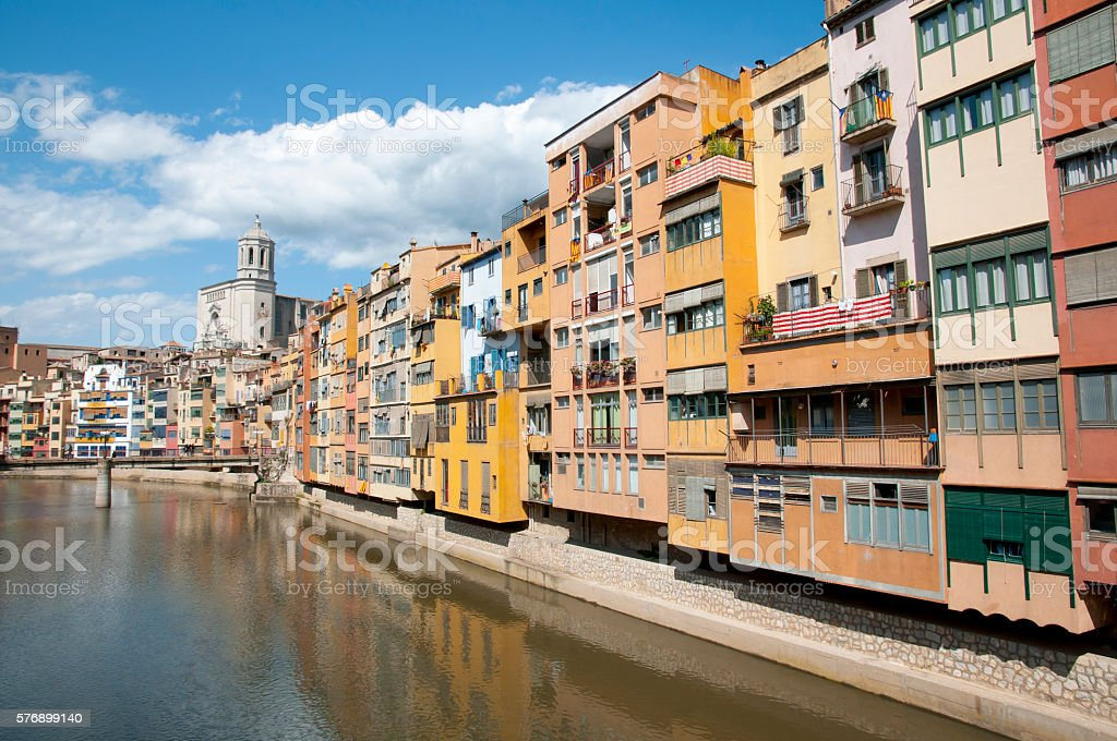Colorful Houses in Onyar River - Girona - Spain stock photo
