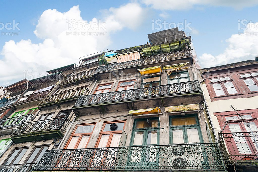 colorful houses in porto stock photo
