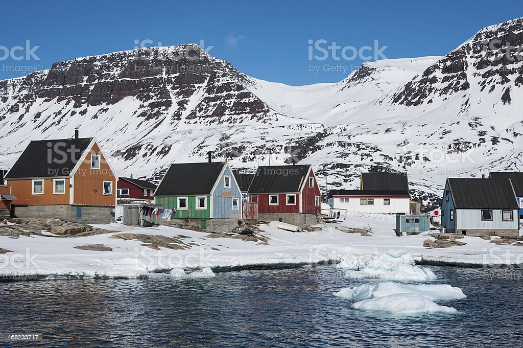 Colorful houses in Qeqertarsuaq, North Greenland stock photo