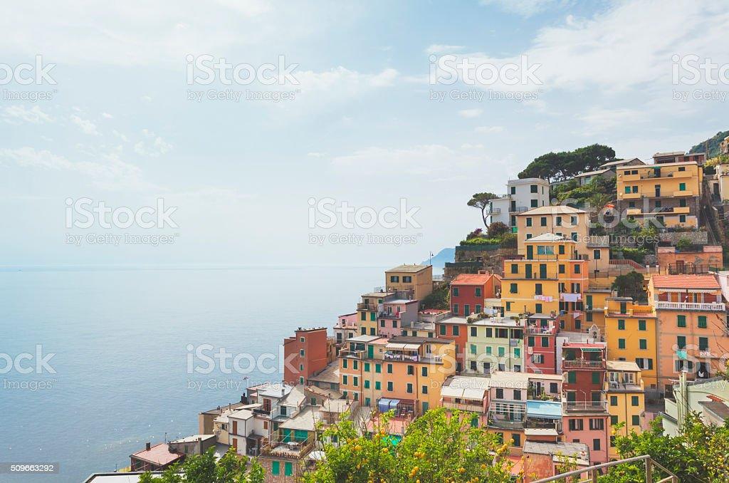 Colorful houses in Riomaggiore, Cinque Terre (Liguria, Italy) stock photo
