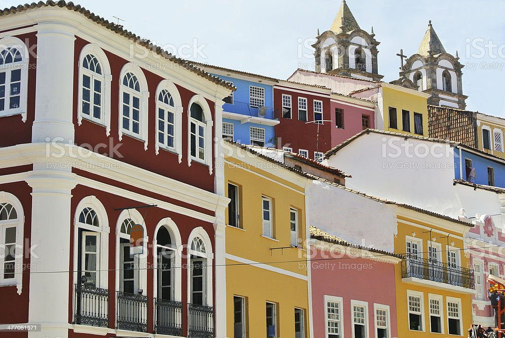 Colorful houses in Salvador da Bahia stock photo