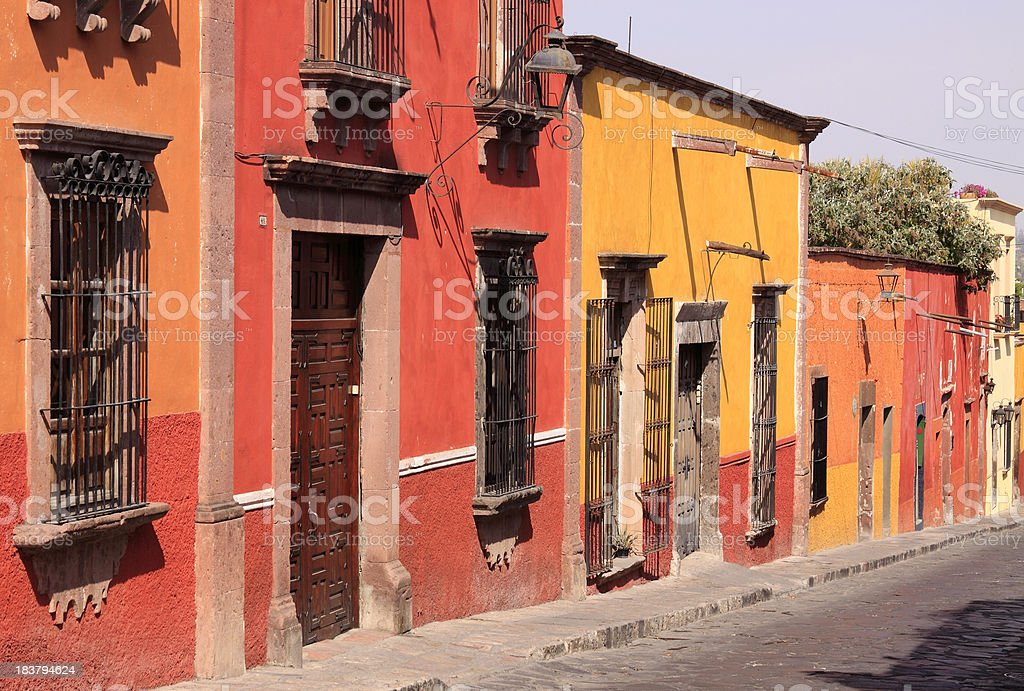 Colorful houses in San Miguel de Allende stock photo