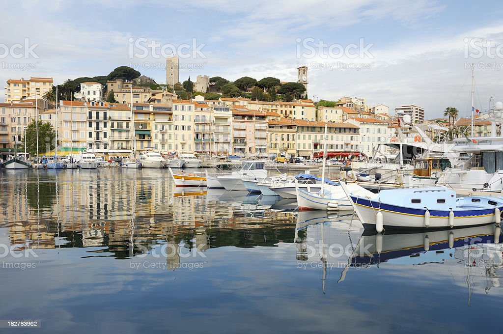 Colorful houses in the city of Cannes stock photo