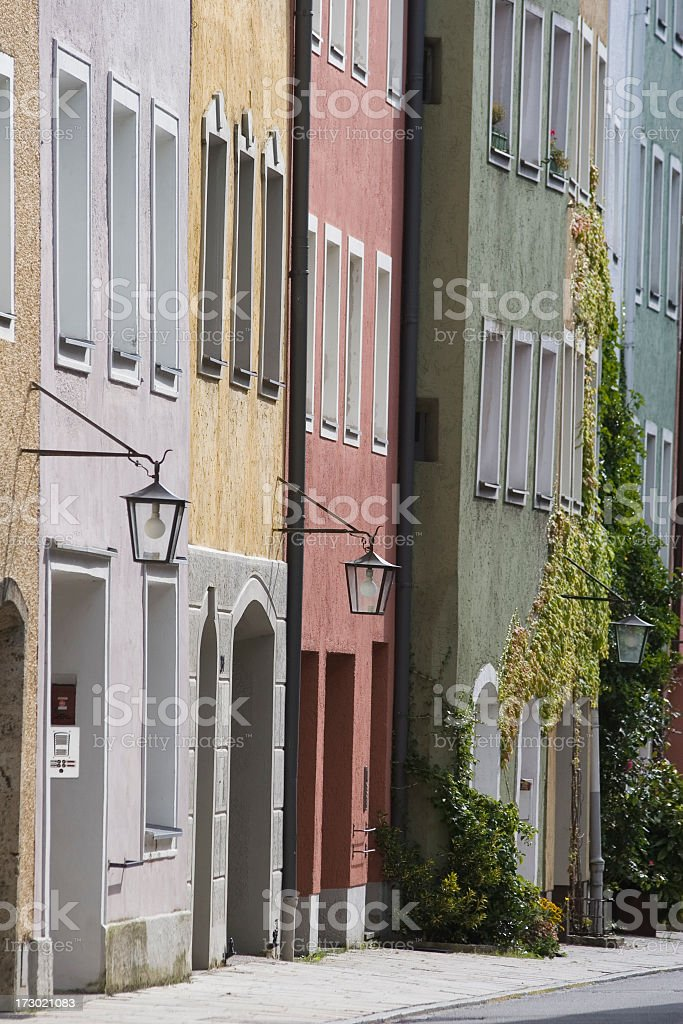 Colorful houses in the old town of Burghausen stock photo