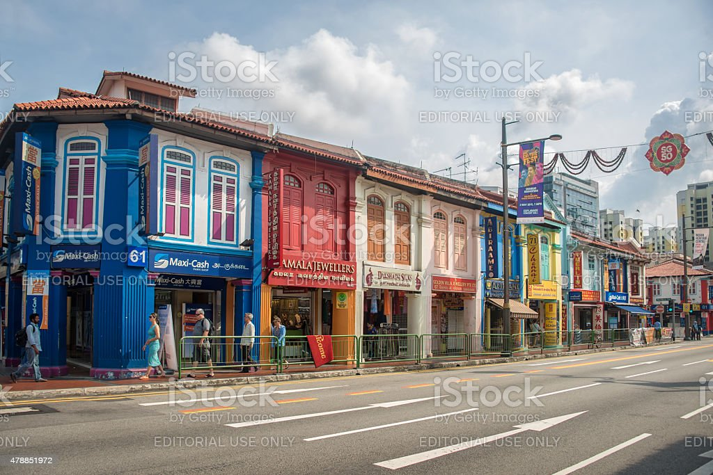 Colorful houses in the streets of Little India in Singapore stock photo