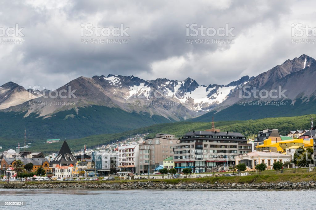 Colorful houses in Ushuaia, Tierra del Fuego, Argentina stock photo