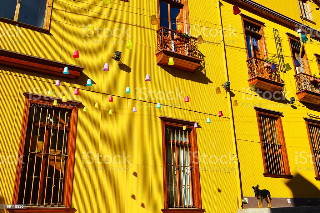 Colorful houses in Valparaiso stock photo