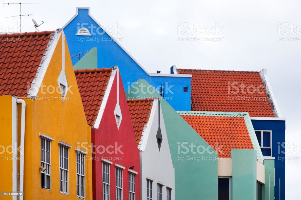 Colorful houses in Willemstad stock photo